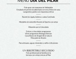 Menú Día del Pilar Hotel Alfonso