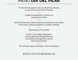 Menú Día del Pilar Hotel Palafox