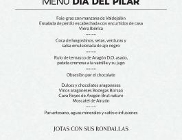 Menú Día del Pilar Hotel Reina Petronila