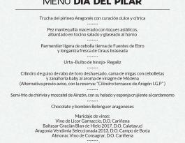 Menú Día del Pilar Restaurante Aragonia Palafox